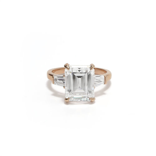 ecw three white jewellery ec cut stone emerald diamond gold union ring