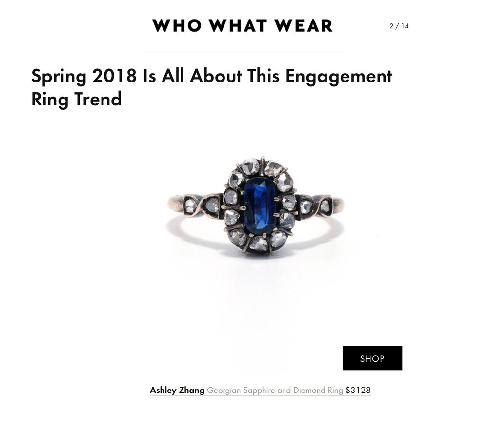 Who What Wear April 2018   https://www.whowhatwear.com/blue-engagement-ring-trend--5ad77b4fe19c6