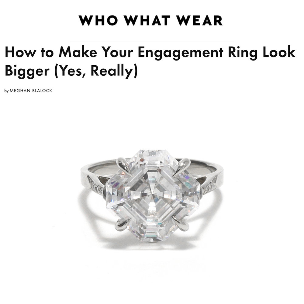 Who What Wear May 2018   https://www.whowhatwear.com/how-to-make-your-engagement-ring-look-bigger