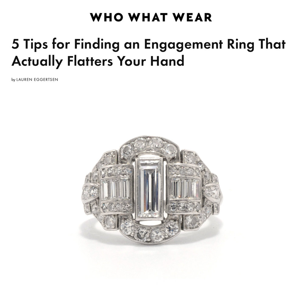 Who What Wear October 2018   https://www.whowhatwear.com/how-to-pick-out-flattering-engagement-rings/slide5