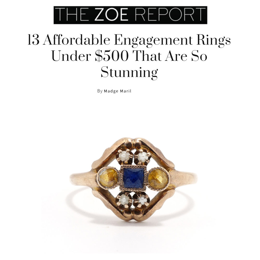 The Zoe Report November 2018   https://www.thezoereport.com/p/13-affordable-engagement-rings-under-500-that-are-so-stunning-13038416