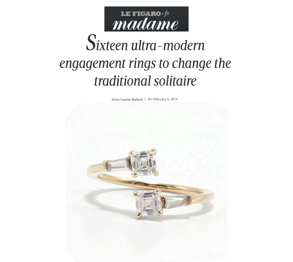 Madame Le Figaro January 2019   http://madame.lefigaro.fr/mariage/seize-bagues-de-fiancailles-graphiques-pour-un-mariage-moderne-050219-163478