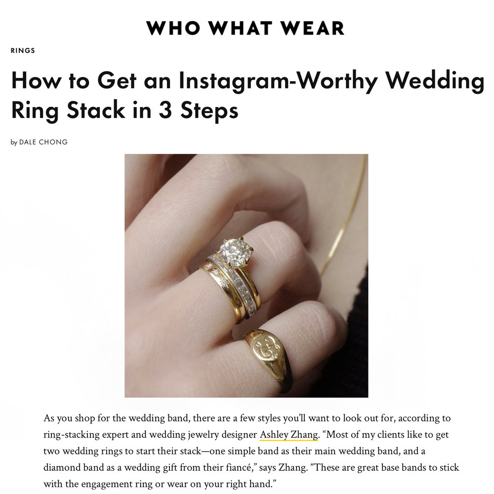 Who What Wear January 2019   https://www.whowhatwear.com/stacking-wedding-rings/slide4
