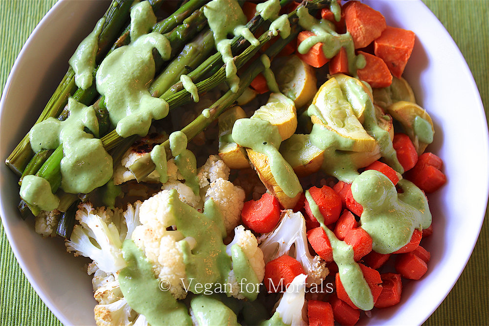 Roasted Vegetable Bowl with Creamy Basil & Parsley Sauce