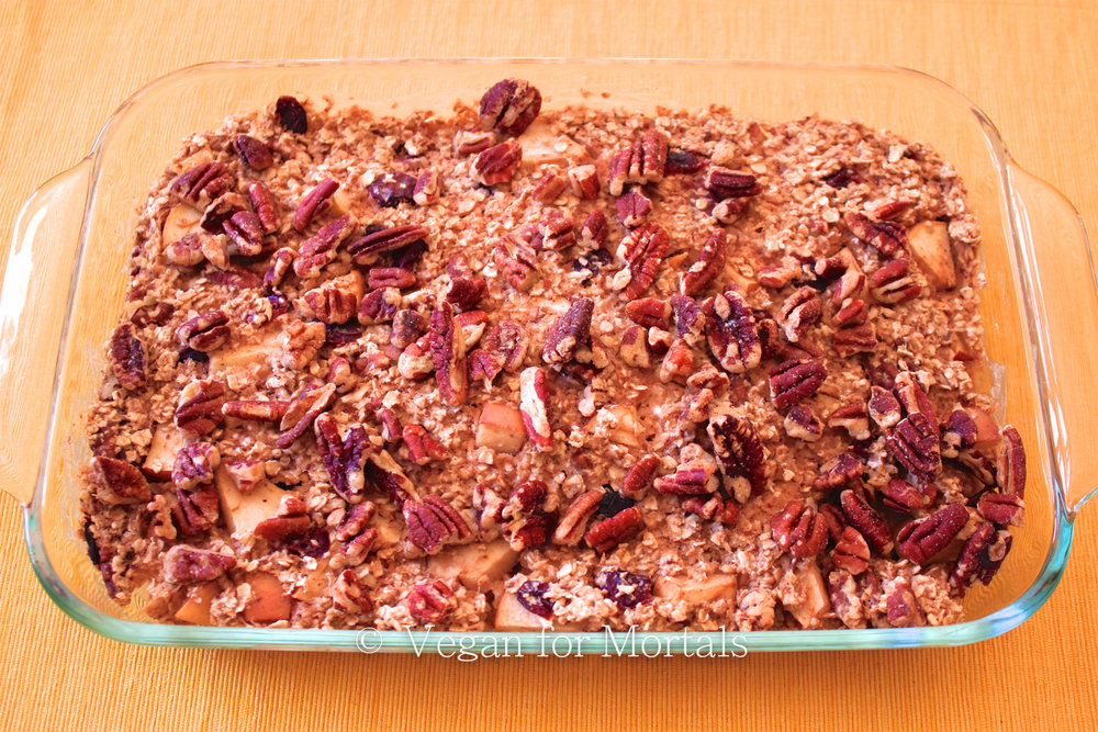 Aunt Judy's Baked Oatmeal - My husband and I were recently in Minnesota and had brunch with his Aunt Judy who made us this AMAZING baked oatmeal. It was by far the best breakfast we had while we were in town. Here's my version of it - full of pecans, dried cranberries, apples, and a few other delicious goodies!