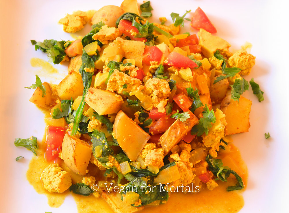 Tahoe Tofu Breakfast Scramble - The Fire Sign Cafe in Tahoe City inspired this recipe. I love this restaurant and they always have a few vegan options. If you're ever in the area make sure you stop by and have some of their delicious food! Until then, you can make this super delicious scramble!