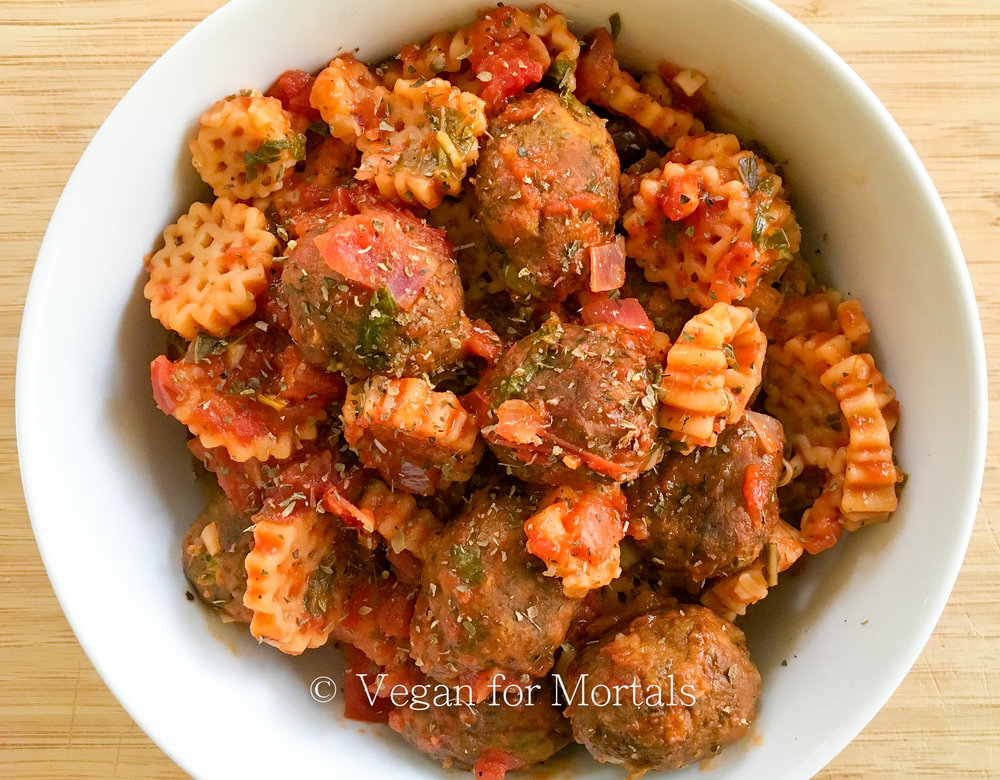 Vegan Pasta & Veg Balls - There's just something so comforting about this pasta and it's crazy easy to make. I also love veggie balls and my favorite actually come from IKEA! They do not not contain ingredients with allergens such as gluten, soy, nut, egg or lactose so as many people as possible can enjoy them and you can actually SEE the vegetables in them! If you don't have access to an IKEA Gardein makes a version found in lots of grocery stores, as well as Amy's Kitchen, and Trader Joe's.