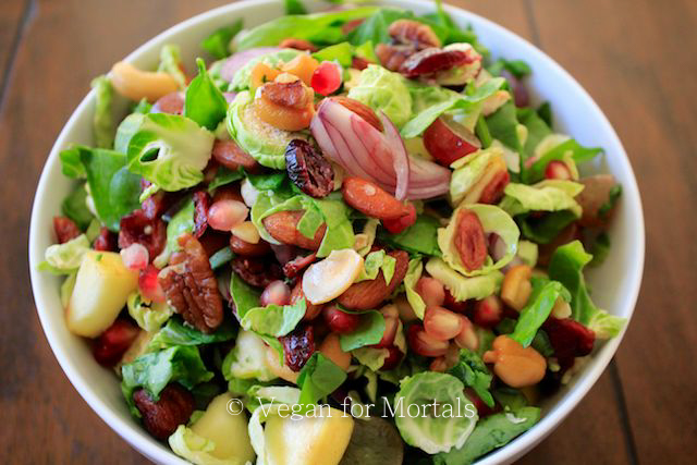 My Favorite Fall Salad - This salad is so amazingly good! Its crunchy, sweet, salty and full of fresh and crispy ingredients. I've made a vinaigrette to go along with this salad, but its also good with a dash of Follow Your Heart Vegan Blue Cheese Dressing.