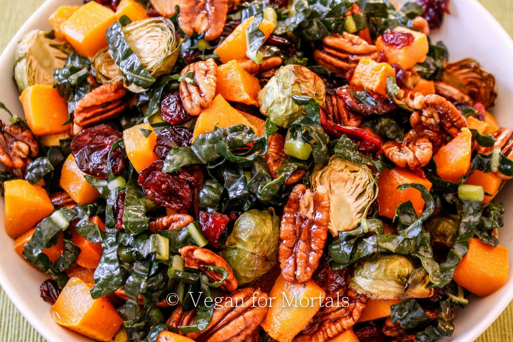 Roasted Butternut Squash & Brussels Sprouts Salad - Hello, Fall! This is the perfect salad to bring you into the fall season and its great as a side or as a full entree - make it ahead of time and have it chilled or eat it just as it comes out of the oven!