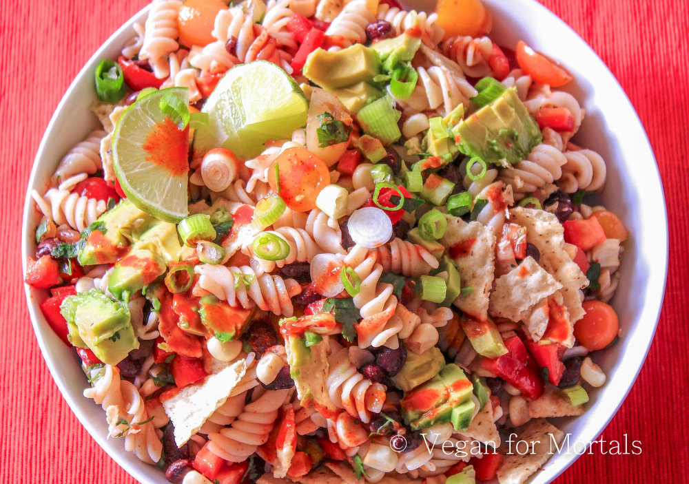 Taco Pasta Salad - Tacos - delicious. Pasta salad - delicious. Put them together - deliciousness explosion! Yeah, I'm excited about this one. Spicy, tangy, crunchy, and crazy good!