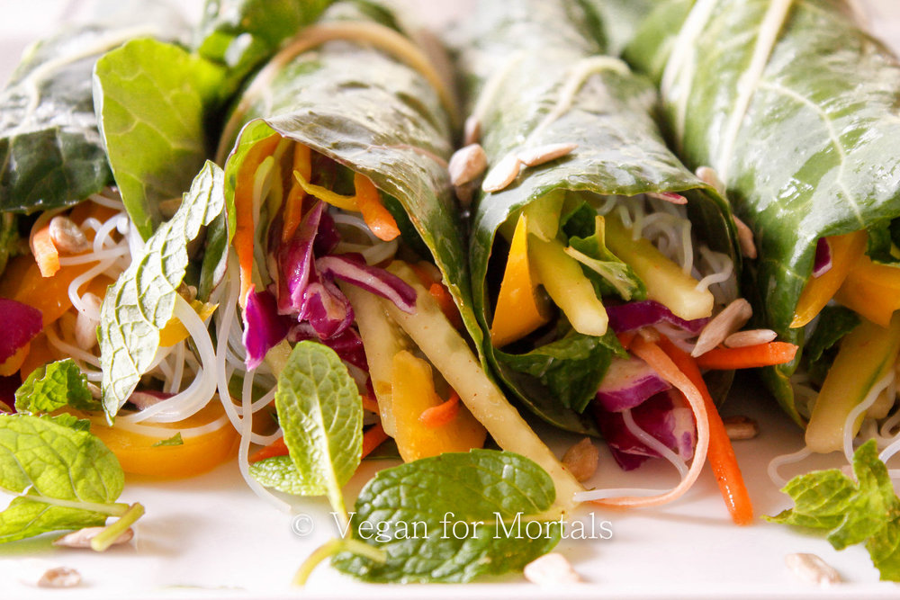 Asian Style Collard Wraps - I love these collard wraps! They're super delicious, crunchy, and filling and they are great for work day lunches because the collard greens are super sturdy and hold up to the liquids inside.