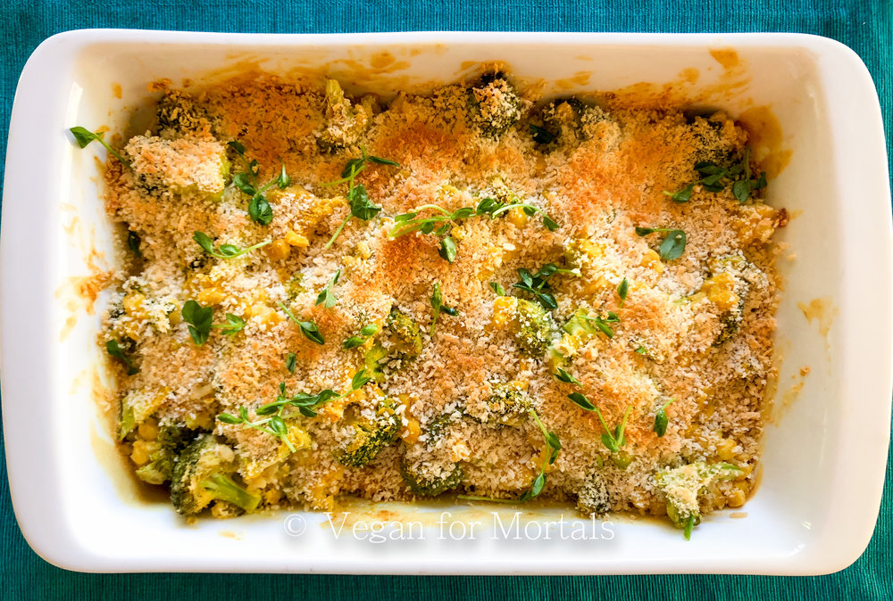 Broccoli Corn Casserole - This casserole was a holiday staple in my family growing up and I love my new vegan version! I've add brown rice to bulk it up a bit. Pair it with a fresh green salad and you've got a delicious lunch or dinner!