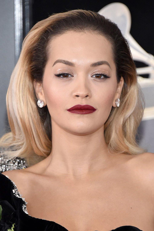Rita Ora bare eyes gloss eye lid  red vampy lipstick makeup Grammy Ceremony 2018 .jpg