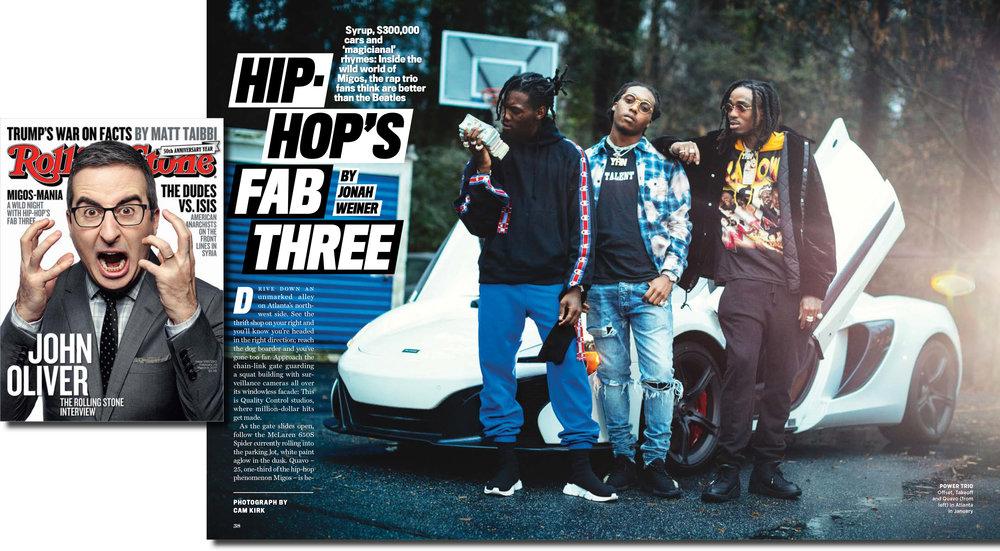 Migos for Rolling Stone Magazine Issue 1281/1282 Feb. - Mar. 2017