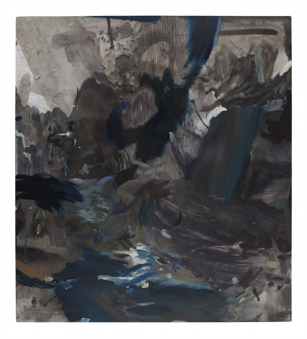 "gray waterfall , oil and acrylic on canvas, 69"" x 77"", 2015"