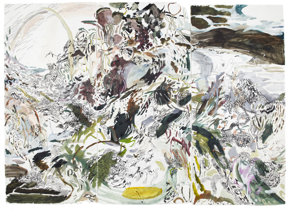 "dream jungle , acrylic, graphite and charcoal on gessoed paper, 150"" x 95"", 2015 — in collaboration w/  Lena Schmid"