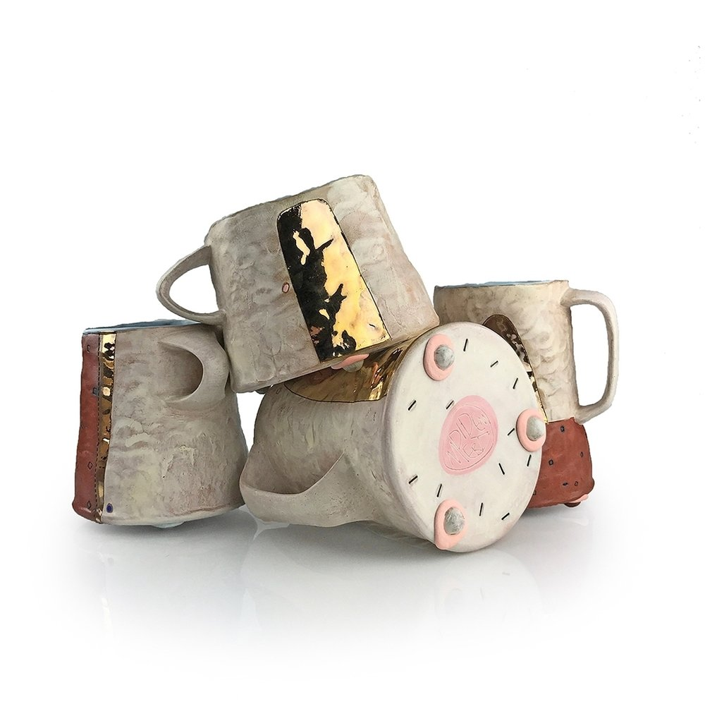 Didem Mert, Mug Collection, 2016, mid-range stoneware, AMACO underglazes, terra sigs., washes, glazes, fired to cone 5 OX., lustre, cone 018 OX., 9_x11_x9,_ 2017.jpg