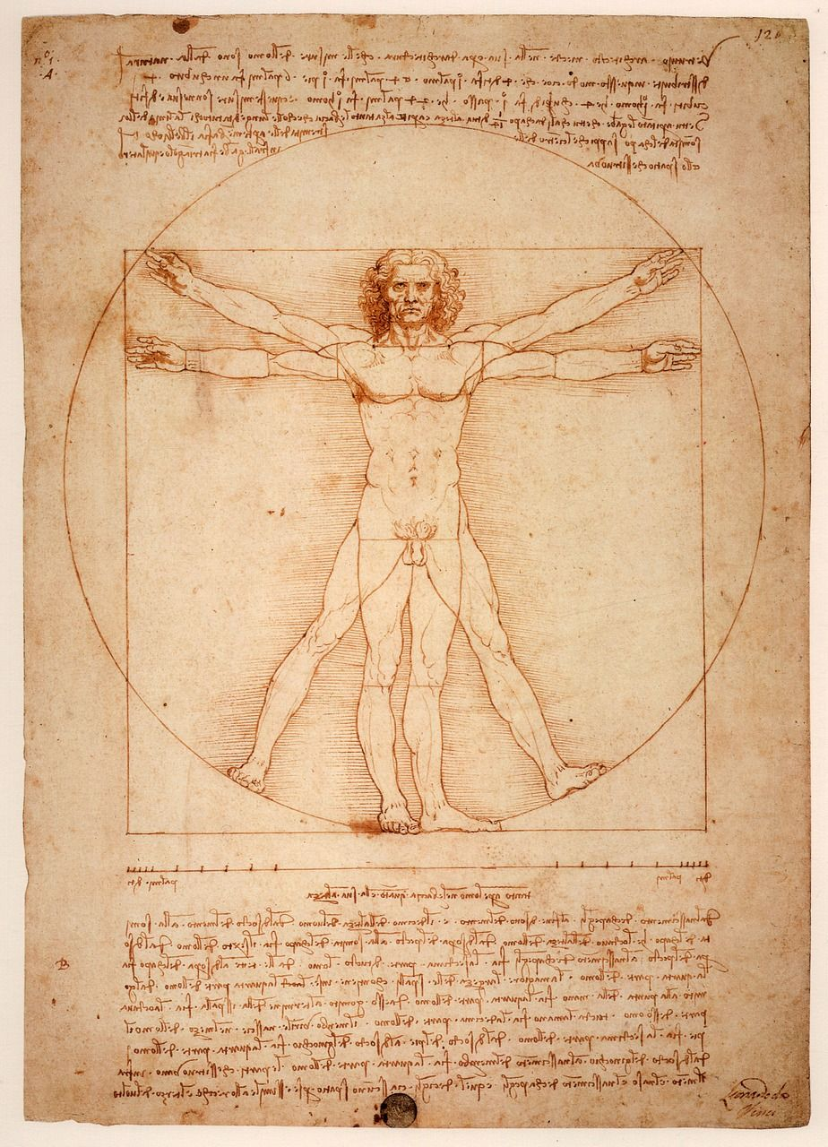 Vitruvian Man by Leonardo Da Vinci, based on classical Roman ideas about the ideal proportions of a human being