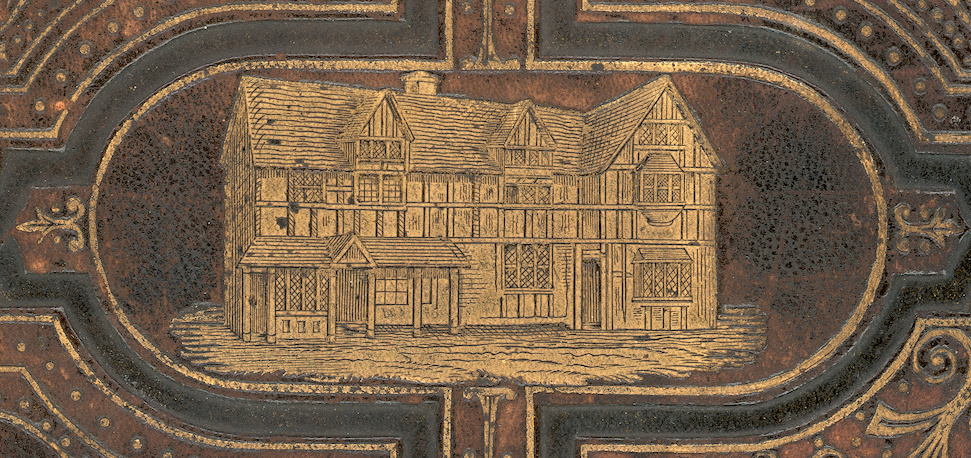1876 BOOK COVER ENGRAVING OF THE HENLEY STREET HOUSE IN STRATFORD WHERE SHAKESPEARE WAS BORN LIKELY ON APRIL 23 IN 1564 DURING THE REIGN OF QUEEN ELIZABETH I. THE  SHAKESPEARE BIRTHPLACE TRUST  IS NOW HERE WHICH CAME INTO EXISTENCE IN 1847 FOLLOWING THE PURCHASE OF THE LOCATION AS A NATIONAL MEMORIAL IN RESPONSE TO P. T. BARNUM'S ATTEMPTED ACQUISITION AND TRANSPORT TO AMERICA TO BECOME A TRAVELING SHOW.