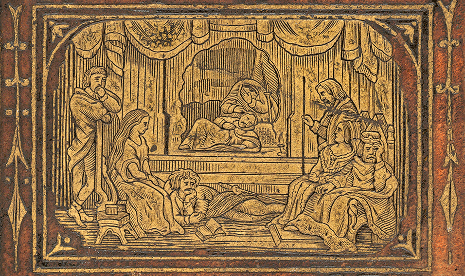 ACTORS PERFORMING FOR THE ROYAL COURT FROM 1876 SHAKESPEARE COMPLETE WORKS COVER ENGRAVING.