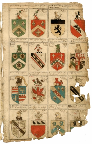 PAGE FROM AN ARMORIAL BOOK FROM 1602 SHOWING SHAKESPEARE'S COAT-OF-ARMS.  Shakespeare Documents Online Library