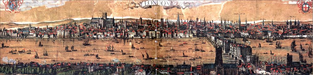 FASCINATING PANORAMA OF LONDON-UPON-THAMES FROM 1616. THE ORIGINAL GLOBE THEATRE IS SHOWN MIDDLE FOREGROUND. HEADS ON SPIKES CAN BE SEEN AT THE ENTRANCE TO LONDON BRIDGE.