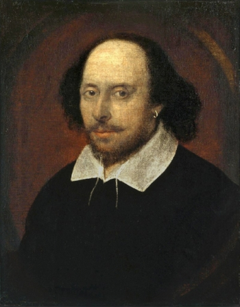 THE ICONIC CHANDOS PORTRAIT CIRCA 1610 (NOTE THE EARRING)PAINTED BY EITHER JOHN TAYLOR OR RICHARD BURBAGE. IT MIGHT HAVE BEEN THE BASIS FOR THE FIRST FOLIO COVER ENGRAVING AND THE BURIAL MONUMENT.