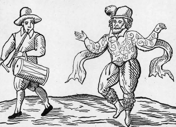 WILL KEMP, THE FAMOUS CLOWN OF THE LORD CHAMBERLAIN'S MEN DANCING THE MORRIS.