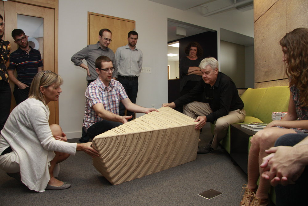 Showing the studio the bench we built for Design Philadelphia back in 2011