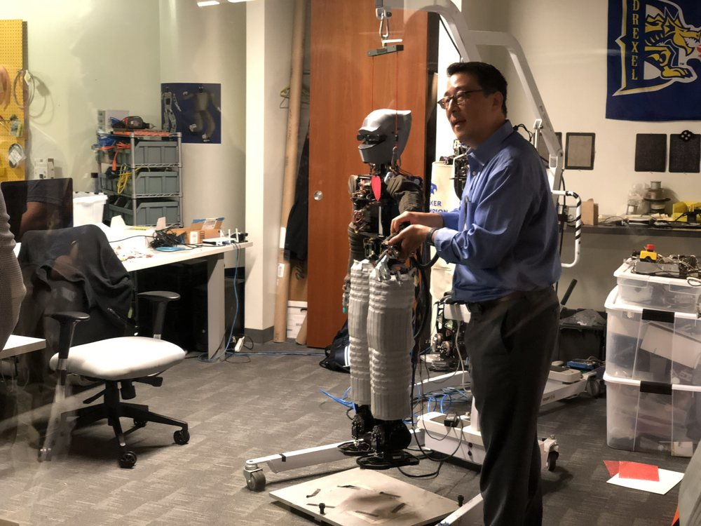 Youngmoo Kim demonstrates a touch-sensitive robot at ExCite Center