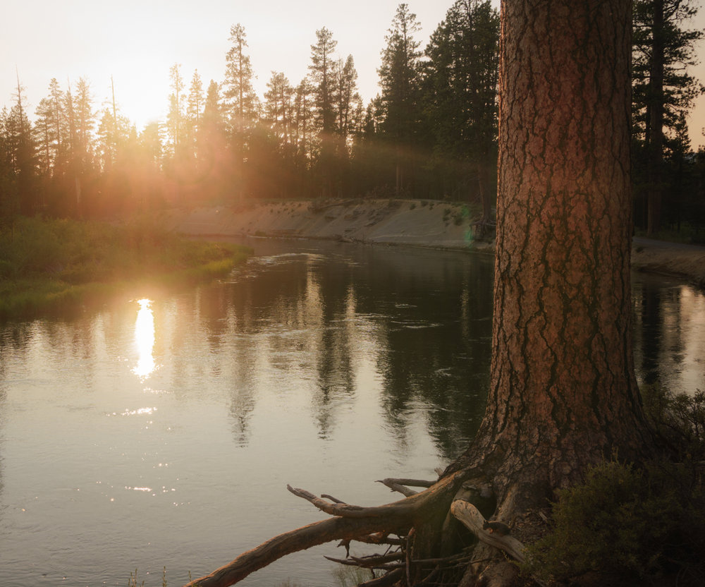 This was the beautiful sunset view out of our RV's front door while boondocking right on the Deschutes River near Bend, OR.
