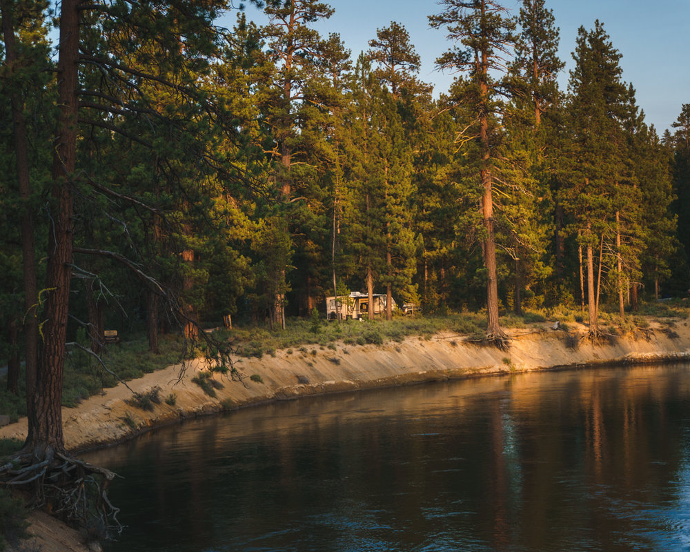 If you look closely, you can see our old Travel Trailer in this picture. We were able to grab our tubes and float down the Deschutes River just a few feet from our rig.
