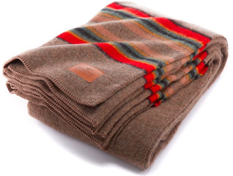 Our favorite cozy blanket is our  Pendleton Yakima Camp blanket . This is the first one we ever got, but our dogs loved it just as much so we now have two, one for them and one for us!
