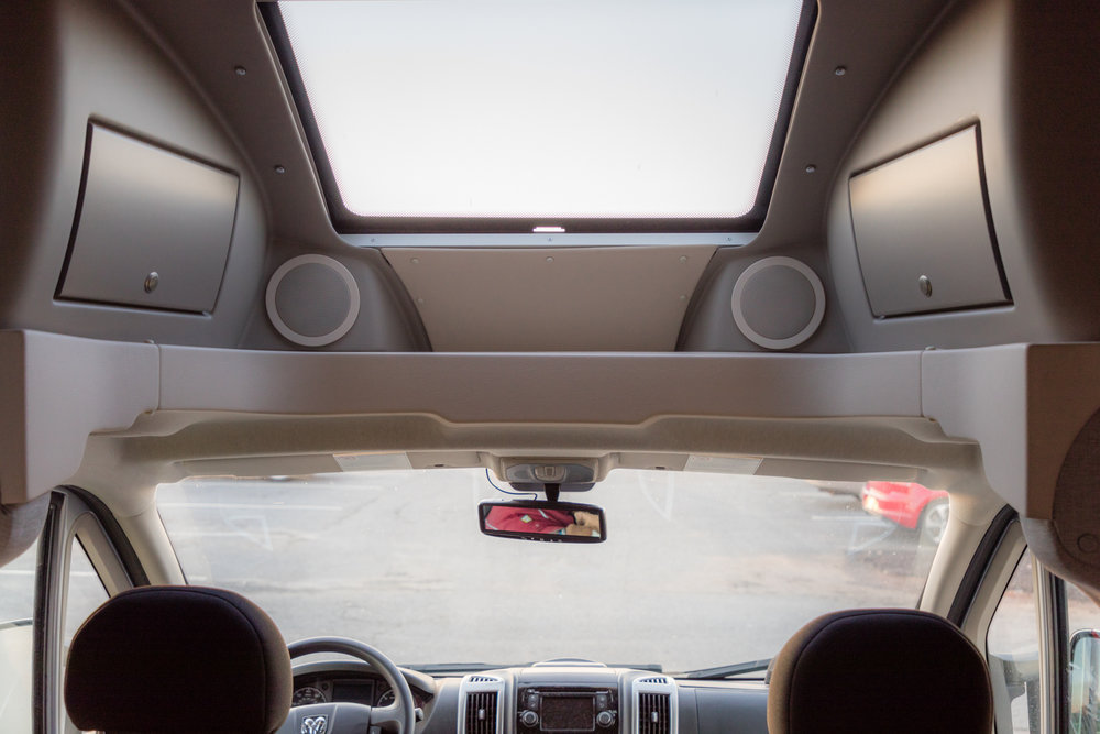 The skylight allows in plenty of natural light. Also, note the nicer shade of brown in the parts of the Winnebago Trend's cab that are brown.