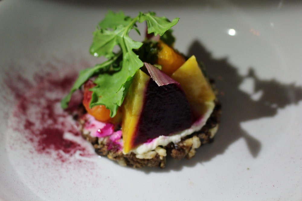 Champorado tart, quesong puti cheese, satsuma, roasted beets and Tinapa sarsa. (Photo: Tamara Palmer)