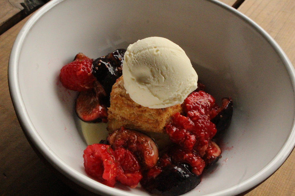Biscuit Island: buttermilk biscuit, vanilla ice cream and warm fruit (TP)