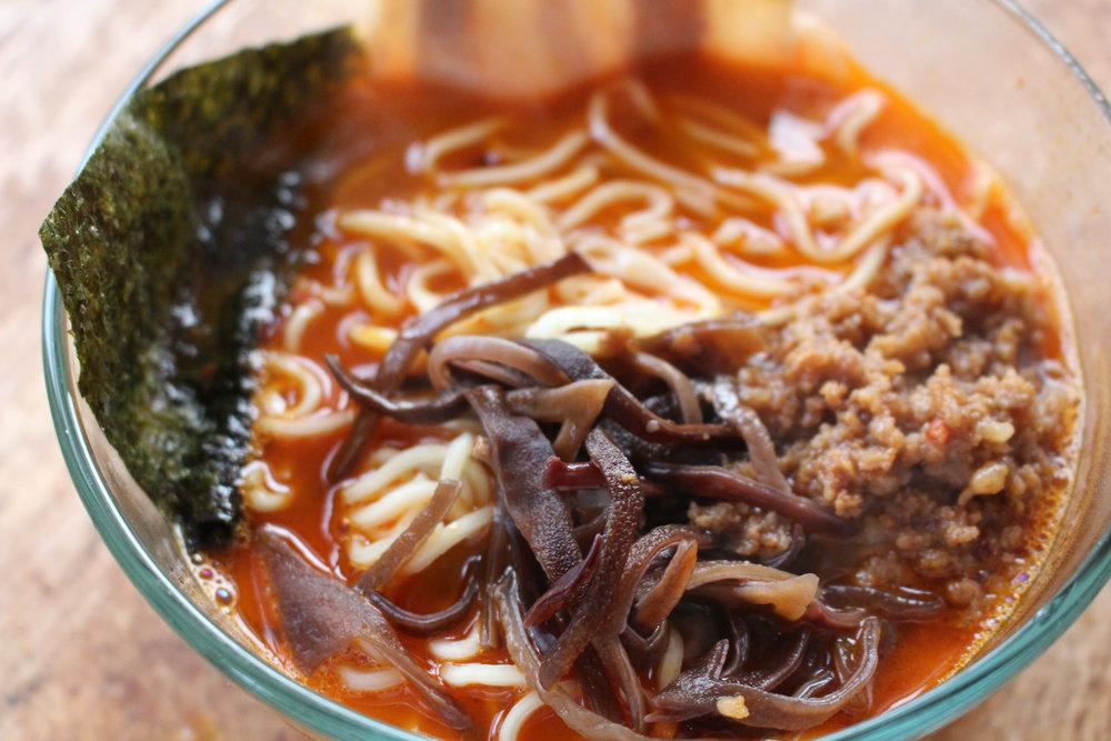 Ramen Hero's spicy tonkotsu ramen (TP).