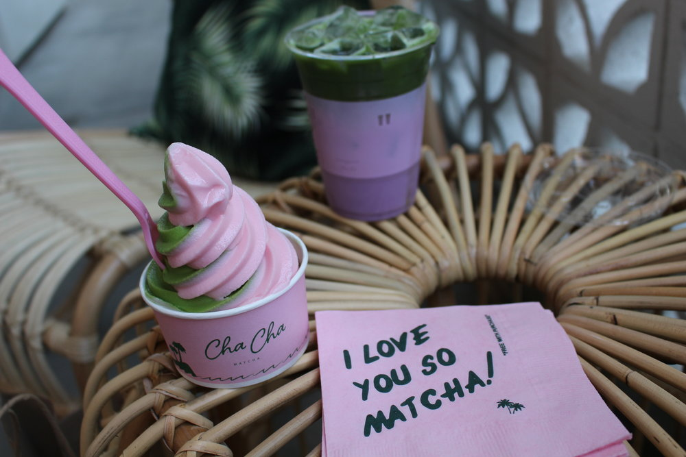 Vegan matcha/peppermint soft serve, Virgil Abloh napkin and Purple Drink (Tamara Palmer)