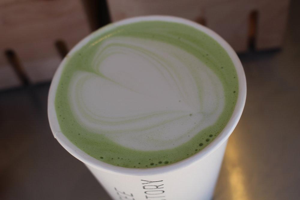 Matcha latte with oat milk.