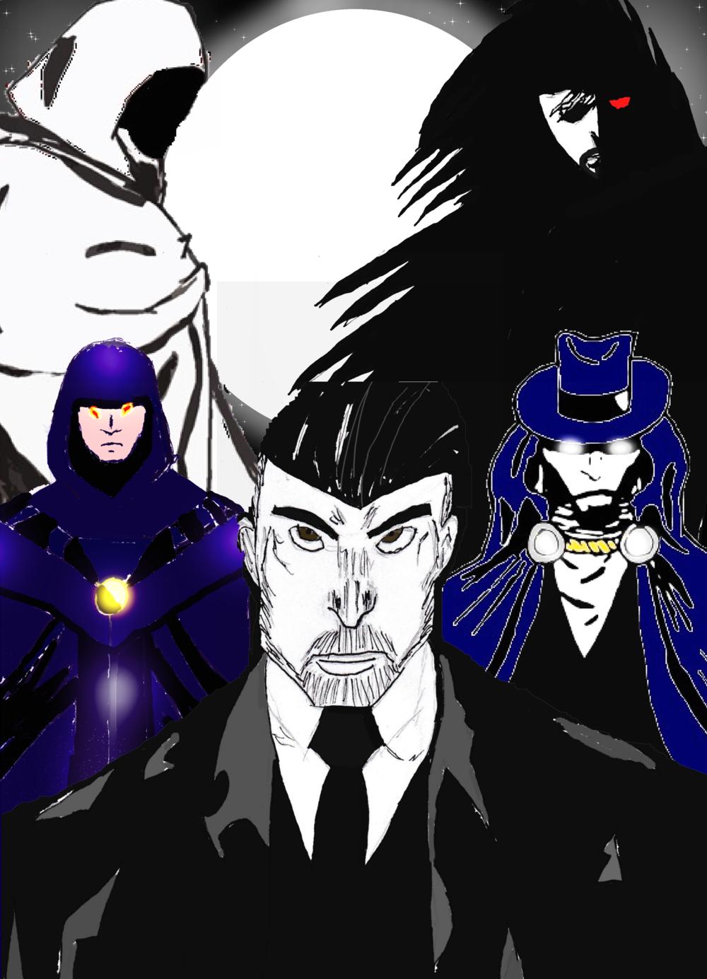 From Top Right, Center, Top Left:     Darkous of the Astrals   ,    Visitant Outlander   ,    Travis Vail   ,    Dark Manhunter   ,    Specter Errant