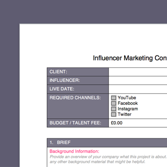 influencer marketing free brief