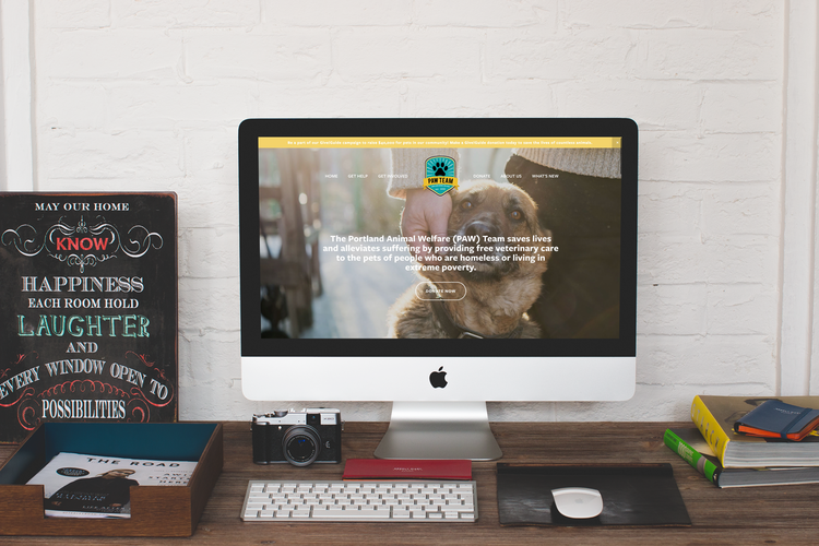 PAW Team - A brochure-style Squarespace website that uses Neon CRM to manage donations.