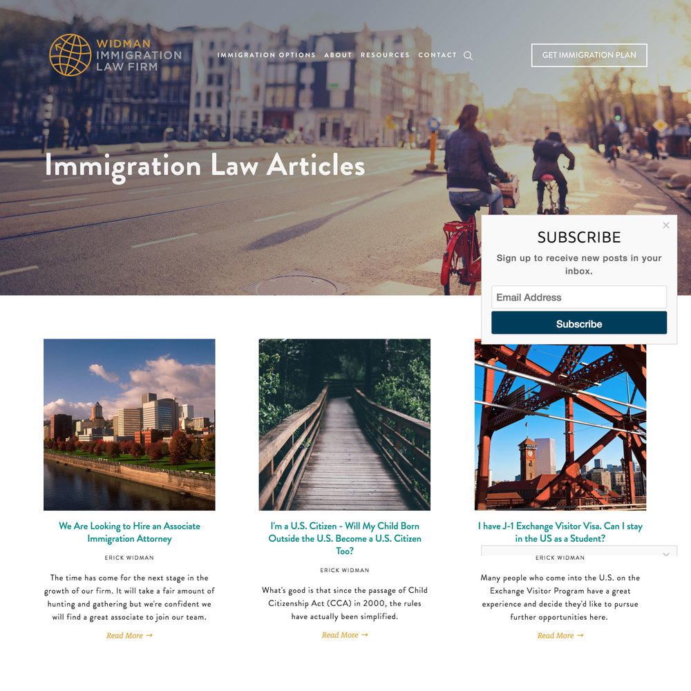 Attorney Law Blog | widmanimmigration.com, designed by Sarah Moon, sarahmoon.net