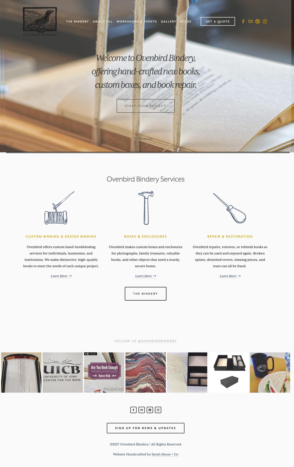Ovenbird Bindery Homepage - Sarah Moon + Co | sarahmoon.net