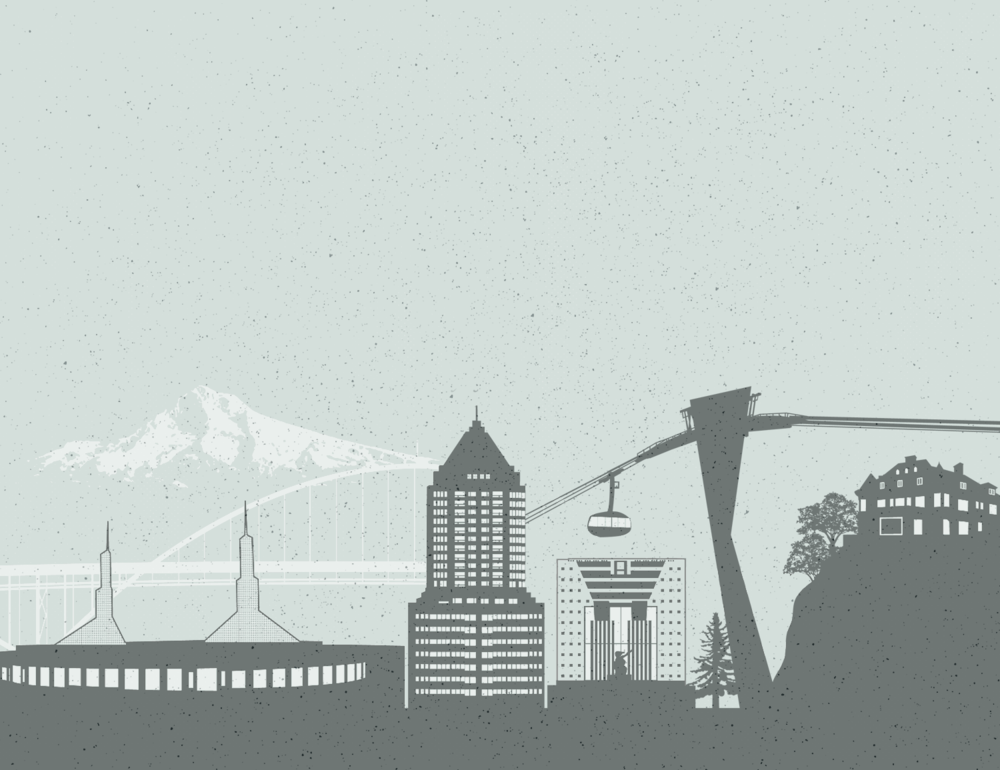 Portland Skyline Illustration for rosslawpdx.com - created by Sarah Moon, sarahmoon.net