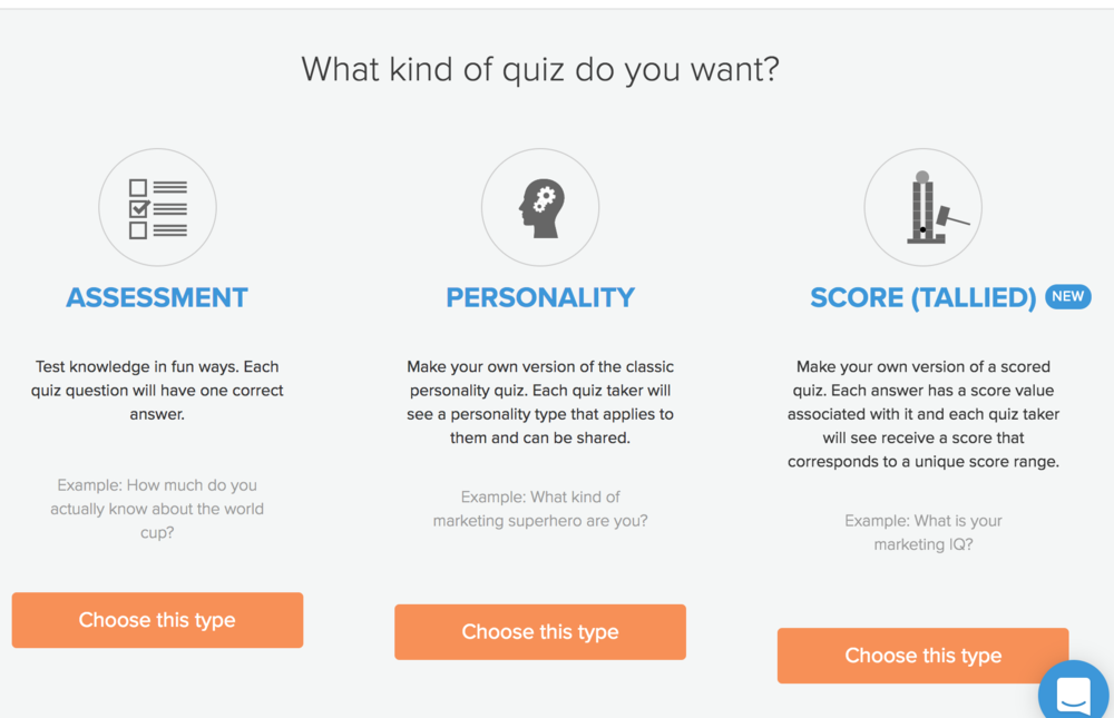 The three types of quizzes offered by Interact.
