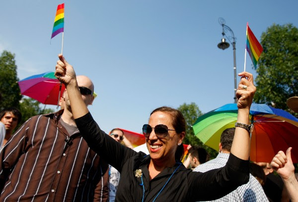 Ambassador Eleni Kounalakis marching in the gay pride parade in Budapest.