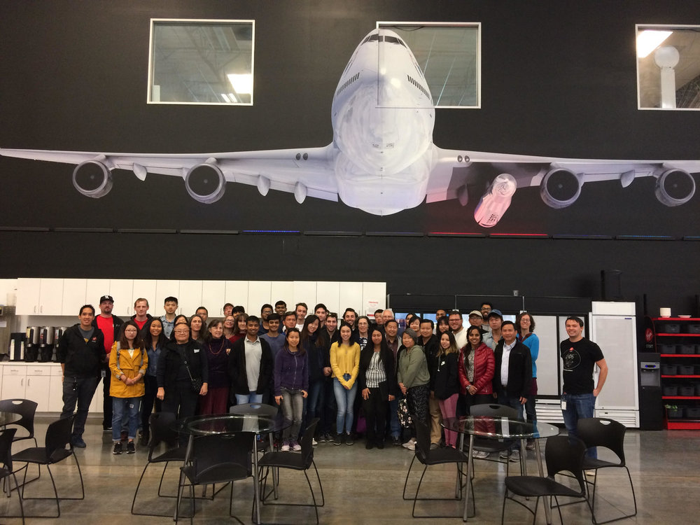 VIRGIN ORBIT TOUR - USC SPE, in collaboration with Mork Family Department Graduate Student Association and American Society of Mechanical Engineers, partnered with Orange County Engineering Council and the Orange County Section of Society of Women Engineers to host a field trip to Virgin Orbit's site in Long Beach, CA. We reserved 10 spots for our students and had an opportunity to learn more about  machine processes integrating rockets.