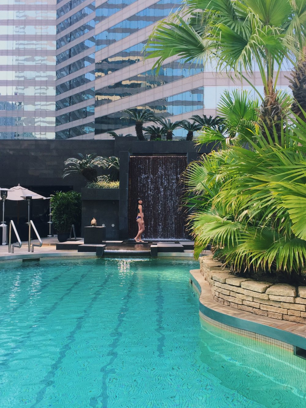I'm amazed when I saw this swimming pool as it is in the middle of skyscrapers, just like a mini tropical garden for you to chill and escape for a while, but the thing is, I can't swim...
