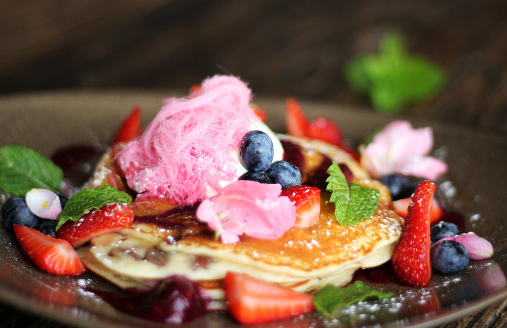 Pancake special, berries, fairy floss, nutella